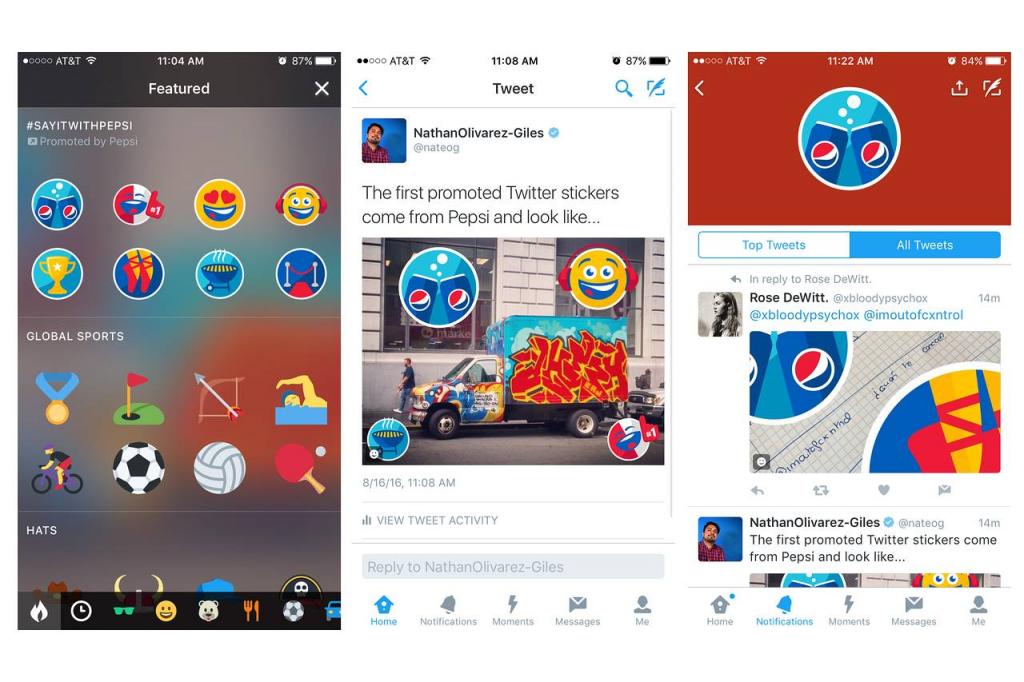 Pepsi и стикеры в Twitter