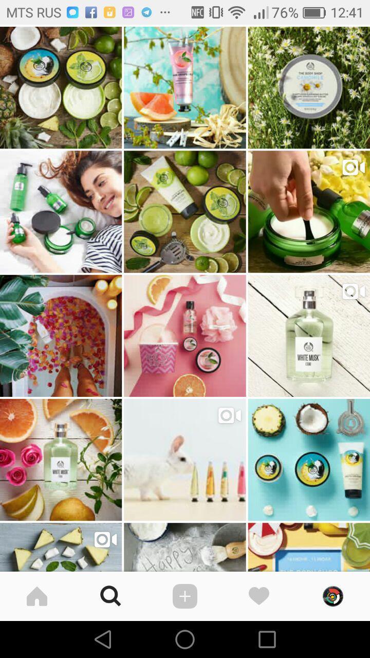 Бренд косметики TheBodyShopRussia в Instagram