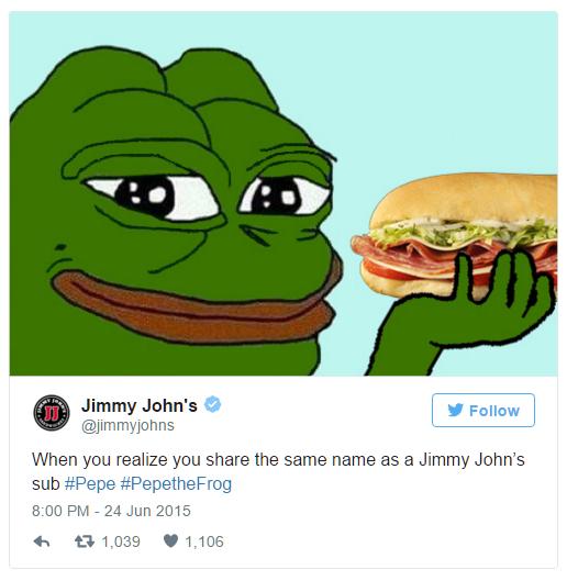 Smug Frog мем в публикации Jimmy John's