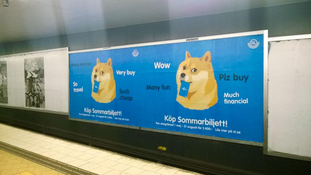 Мем Doge в шведском метро на станции