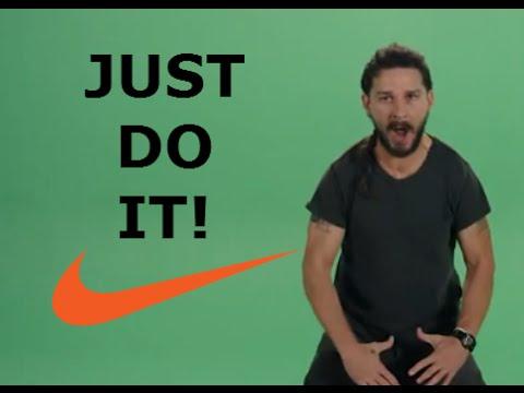 Мем Just do it c Шайа Лабафом в рекламе Nike