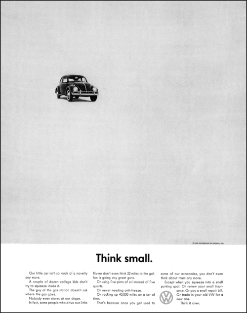 Рекламная кампания Volkswagen Билла Бернбаха Think Small - думай скромнее