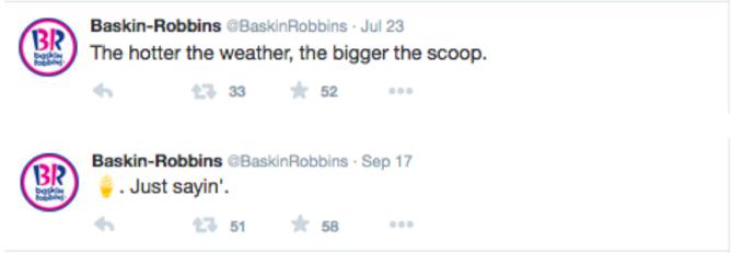 Использование смайлов в Baskin-Robbins