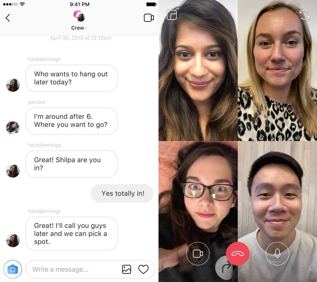 Групповые видеозвонки в Инстаграм и WhatsApp
