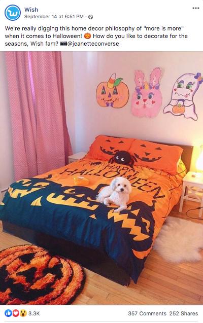 Пример поста про Хэллоуин от Wish