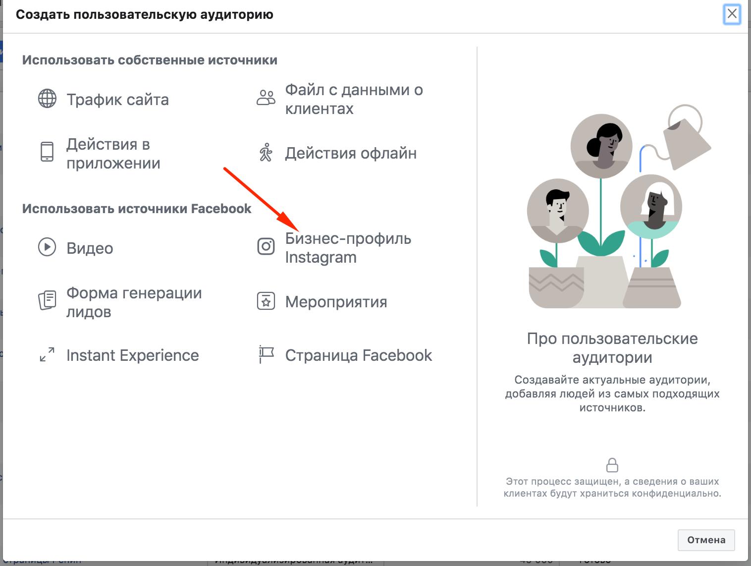 Пользовательские аудитории Facebook