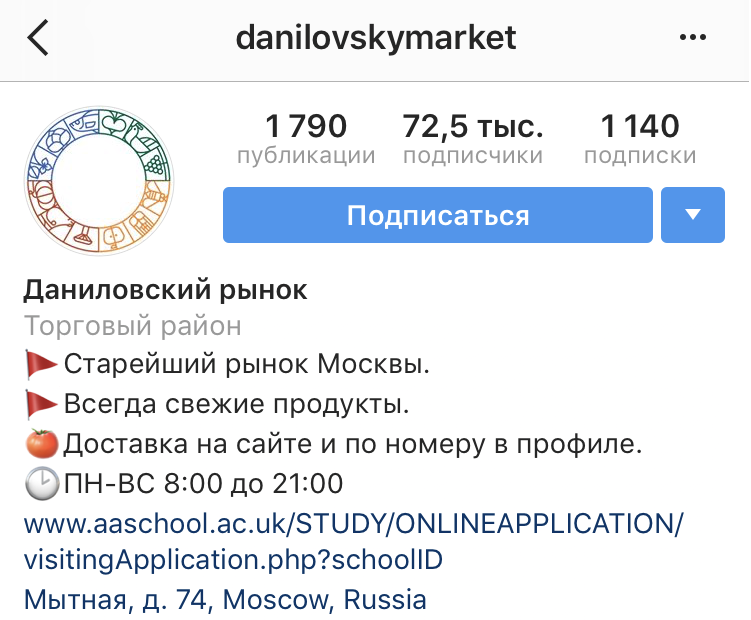 Даниловский рынок с оригинальным описанием с маркированным списком и эмоджи