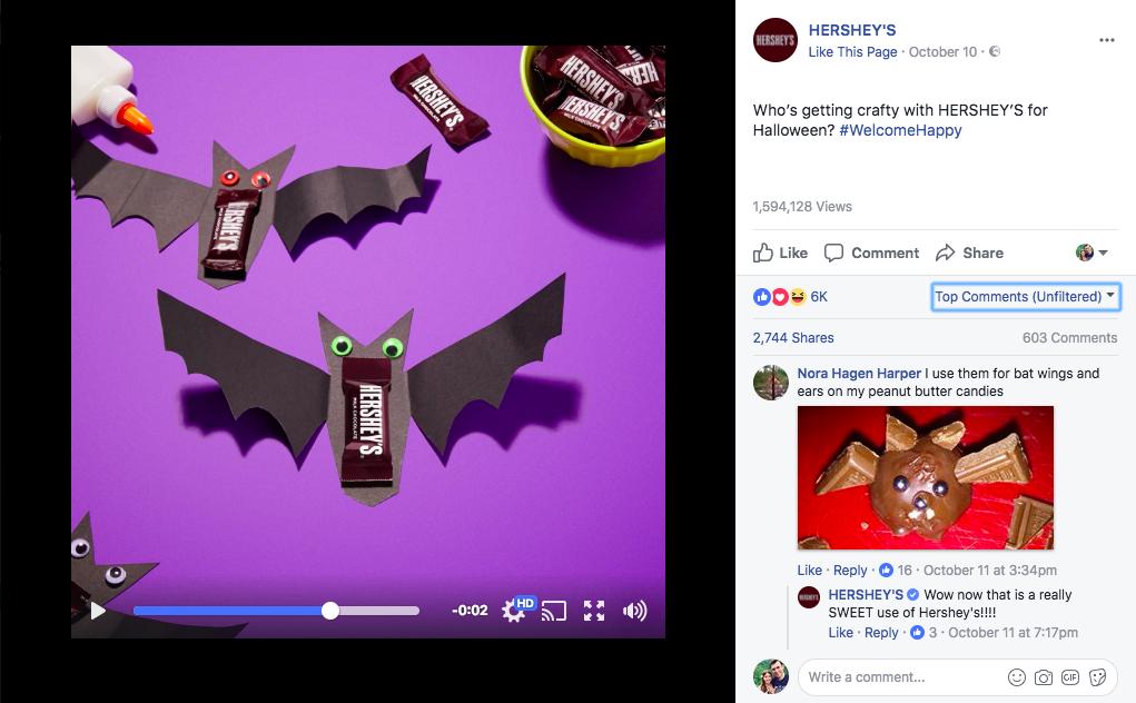 Hershey интегрировала свой продукт в публикацию к Хэллоуину