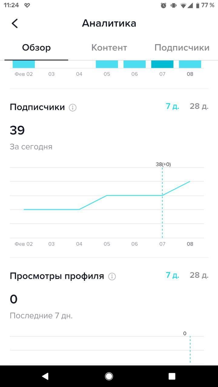 Данные встроенной статистики в ТикТок